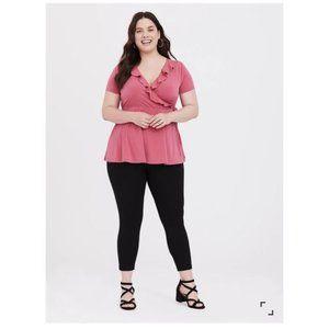 Torrid   Rose Pink Studio Knit Ruffle Top